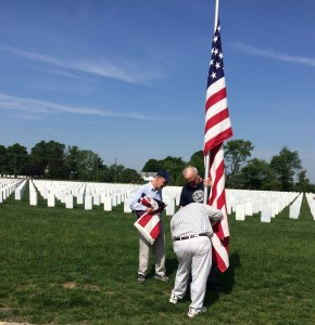 Setting Flag Poles at the National Veterans Cemetery, Washington Crossing PA - 2016-05-26